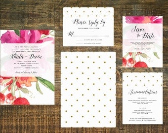 Watercolor Wedding Invitation Suite (Set of 25) | Pink Wedding Invitation, Watercolor Flower Invitation, Wedding Set, Fuchsia Wedding