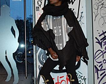 AFRICA Poncho black&white Kente