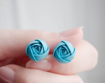 Blue Ranunculus Stud Earrings Wholesale Handmade Small Hypoallergenic Polymer Clay Studs Women Accessory Weddings Bridal Birthday Gifts