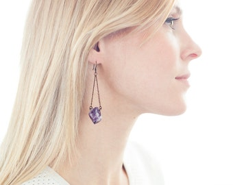 "Raw Amethyst Stone Earrings - ""Kennedy"""