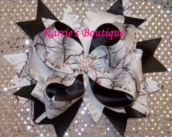 Camo Hair Bow / Snow Camo / Wedding / Black / Bling / Speciality / Girl / Baby / Infant / Toddler / Handmade / Custom Boutique Clothing