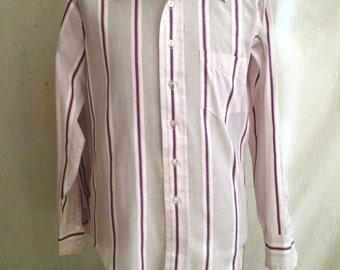 Vintage Man's Shirt 1960's  Purple Striped Dress Shirt 15 1/2 x 35 Groovy Hipster