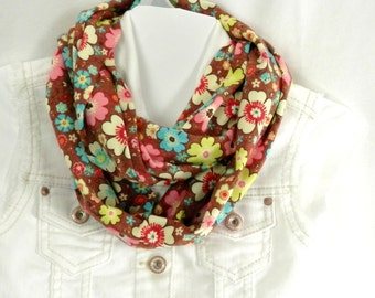 NEW Girls Infinity Scarf Cute Retro Flower Print Cotton Jersey Knit Brown Pink Lime and Blue