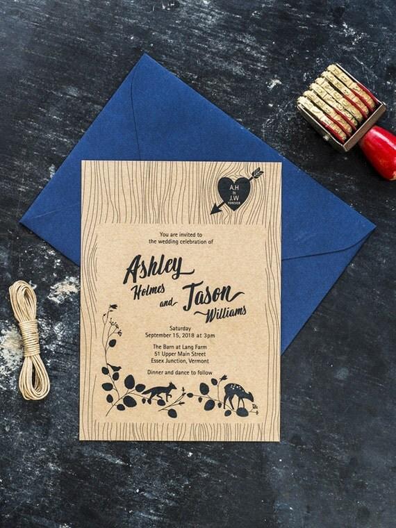 The Woodgrain Eco Friendly Printable Wedding Invitation Nature Love