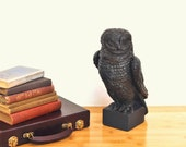 Vintage Owl Sculpture Bronze Ceramic Bird of Prey Masculine Decor Man Cave Art Statue Figurine