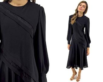 Vintage 80s Dress, Vintage Pierre Cardin, Party Dress, Midi Dress, Bishop Sleeves, Designer High-Fashion Δ size: xs / sm