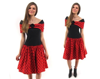 Vintage 80s Polka-Dot Dress, Party Dress, Tulle Full Skirt, Puffy Skirt, Off Shoulder, 80s Girls Just Wanna Have Fun Dress Δ size: