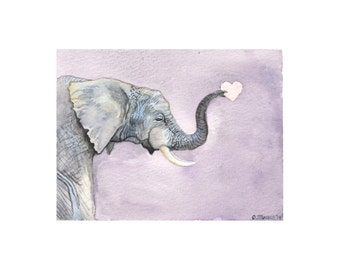 Wall Art - Watercolor Painting Print - Elephant holding a heart - Kids Room Wall Art or Nursery Wall Art