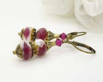 Rose pink and white earrings in antique bronze, dangly vintage style czech glass bead drop earrings