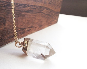 Quartz crystal necklace, crystal point, gold pendant, long chain, metaphysical, boho jewelry, long gold necklace