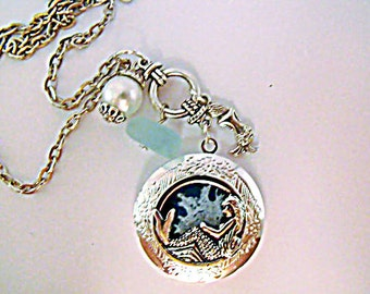 Silver Locket Necklace,     Round Mermaid Locket Sea Blue and White Background, Sea Glass And Charms  Womens Gift Handmade