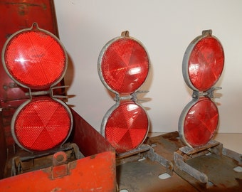 Vintage Road Reflectors-Pop Up Red Flares-Highway Safety-rustic metal box-Roadside Emergency Reflective Plastic Flare-retro road reflectors