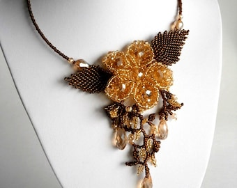 Sale ... Gold Brown Necklace , Flower Necklace, Evening Necklace, Beadwork Jewelry, Bridal jewelry, Crystal Necklace