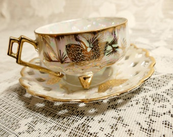 Vintage Lusterware Cup and Saucer, Teacup and Saucer, Vintage Teacup, Footed Teacup