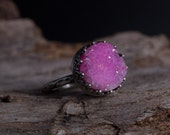 Pink Druzy Ring-Crown Sterling Silver Ring-Vintage Inpsired Druzy Ring-Pink Druzy Jewelry