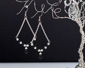 Trapeze Pearl Earrings Swarovski Black Pearls Triangle Geometric Chain Earrings