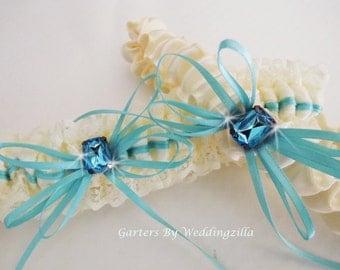 Aqua Blue and Ivory Lace Wedding Garter Set / Ivory Bridal Garter /  Wedding Garter Belt