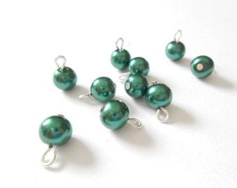 Dark Green Glass Pearl Dangle Beads