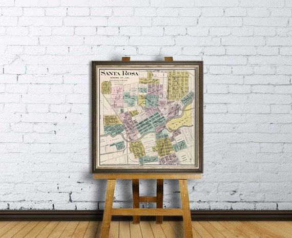 Santa Rosa map - Old map of Santa Rosa print - Fine giclee reproduction
