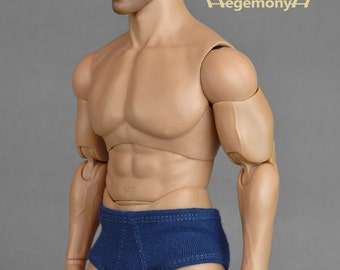 1/6th scale XXL blue male underwear for: Hot Toys TTM 20 size bigger action figures and male fashion dolls