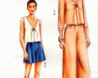 Very Easy UNCUT Vogue Pattern 7346 - Misses Top, Shorts & Pants - 8-22
