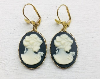 Cameo Earrings/Black Earrings/Black Cameo Earrings/Bridesmaid Earrings/Bow Earrings/Black And Cream Earrings/Gift For Her/Mother's Day Gifts