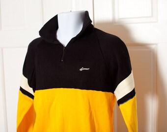 Vintage Sweatshirt Track Shirt - yellow black white - SPRINT - L