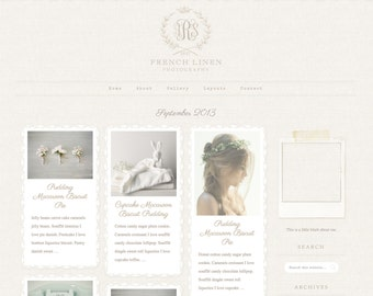 Responsive Wordpress Theme Blog Design Premade Wordpress Template - Vintage  French Linen Lace Natural Romantic Feminine