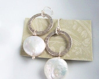 Circle Earrings Coin Pearl Drop Sterling Silver Hammered Jewelry Bridesmaid Gifts June Birthday Birthstone Bridal Wedding Jewelry