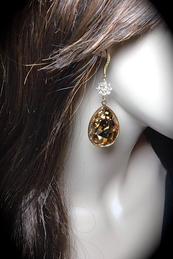 Swarovski crystal earrings ~ Gold ~ Long ~ Golden Shadow ~ 14k Gold over Sterling Cubic Zirconia ear wires ~ Statement earrings ~