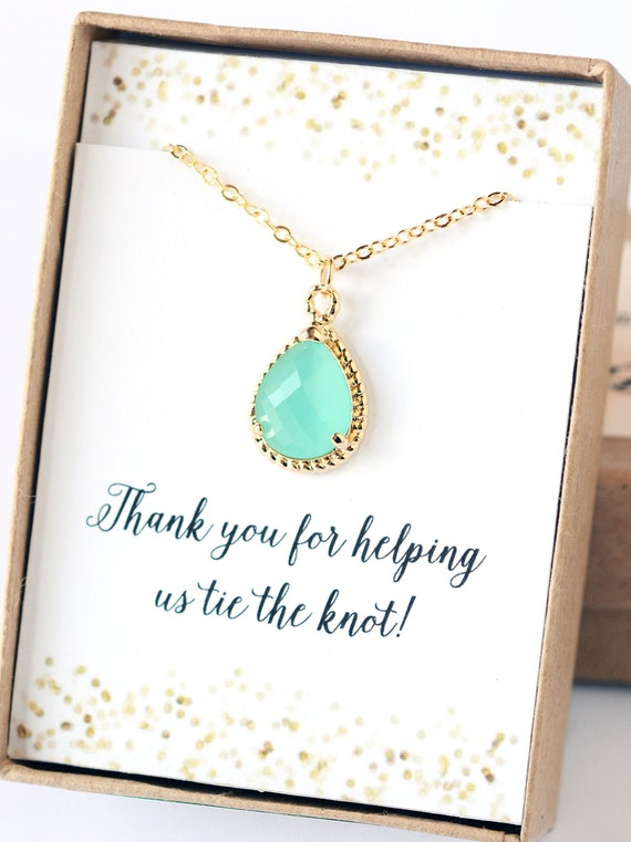 Wedding Gift Ideas On Etsy : ... Gift Jewelry Mint Opal Necklace Bridal Accessories Gift Wedding Party