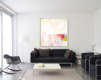 """large wall art ABSTRACT painting Giclee print up to 40x40"""" Abstract Art Extra large wall art white yellow pink, Duealberi"""