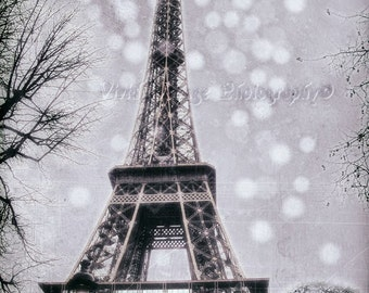 Eiffel Tower Photograph, Paris France, Grey, Monochrome Art, Fine Art Photography, Dreamy Photo, French Home Decor