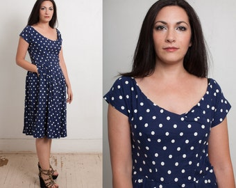 1950s Navy Polka Dot Swing Dress by TAILORED JUNIOR, classic 50s Blue Cotton Day Dress, Womens Bombshell A-Line, size Small