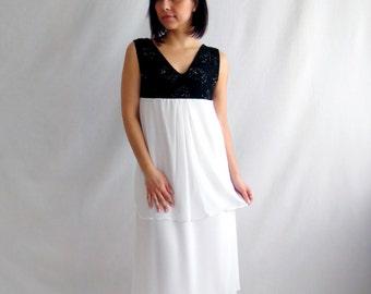 Wedding dress, Black white wedding dress, Alternative wedding dress, Wedding gown, Long wedding dress, Empire waist wedding gown