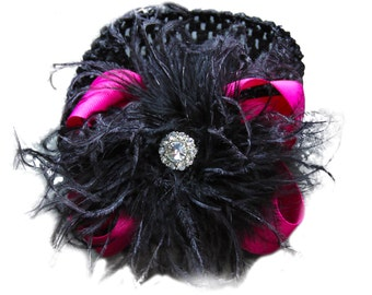 Large Hot Pink Bow with Black Ostrich and Rhinestone Stone FREE SHIPPING newborn hair bow curly ostrich hair bow and headband rhinestone bow