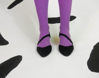 80s Black Suede Strappy Asymmetrical Kitten Heels / New Wave / Size 7 / Cut Outs / Avant Garde / Pointy Toe / Punk / Batcave / Leather /