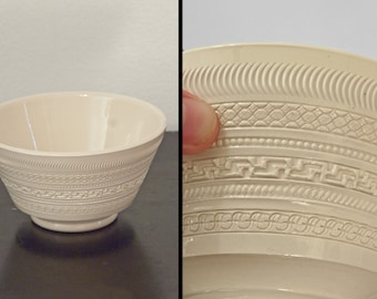 Ecru EMBOSSED Bowl Midcentury Grecian Geometric Minimalist Bone Hue