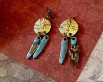 Vintage Handmade Southwestern Earrings Southwestern Tribal Turquoise