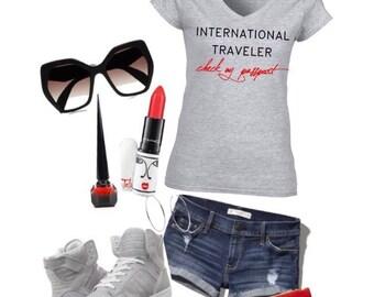 International Traveler Check My Passport Vneck shirt - Gray