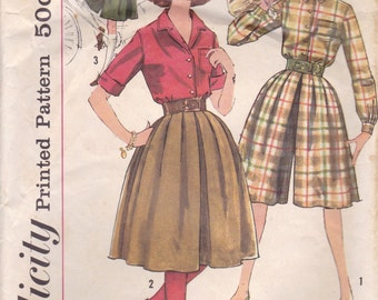 60s Blouse & Culottes Pattern Simplicity 3637 Size 14 Uncut