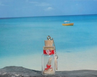 Glass Bottle Pendant, Hand Crafted with Sand, Seashells, Scroll, Corked/Sealed, Mini Bottle, Red, Beach, Ocean, Nautical, Gift