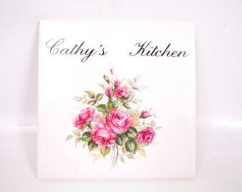 Vintage Ceramic Tile Plaque CATHYs KITCHEN Pink Rose Design Wall Hanging Trivet