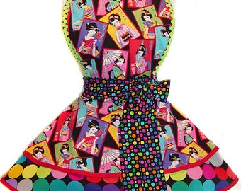 READY TO SHIP! Stunning, One-Of-A-Kind Geisha Retro Apron--Only From Tie Me Up Aprons