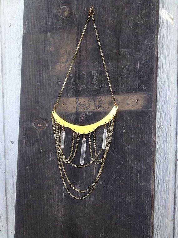 Quartz Crystal Point, Antique Bronze Draped Chain, Large Raw Brass Collar Chandelier Bib Necklace