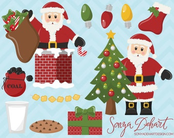 80% OFF Sale Santa Claus Clipart Set Commercial Use Christmas Clip Art Digital Vectors -CA180