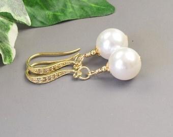 White Pearl Earrings - Pearl Bridal Earrings - Gold Pearl Earrings - Swarovski Jewelry - Pearl Bridesmaid Earrings - Pearl  Drop Earrings