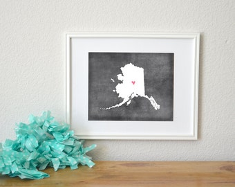 Alaska Chalkboard State Map Customizable Art Print