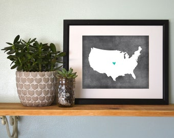 United States Chalkboard Map Personalized Art Print.