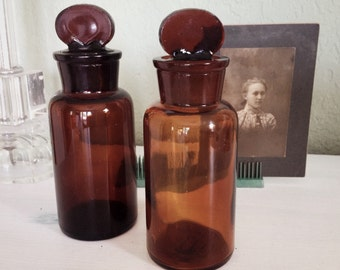 Vintage Apothecary Jars Pharmacy Bottles Ground Stoppers, Amber Colored